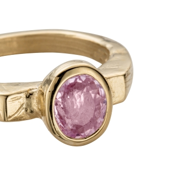 ANTHEIA Gold Pink Sapphire Ring detailed