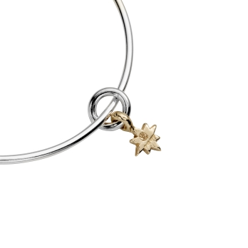 Silver & Gold Baby North Star Bangle detailed
