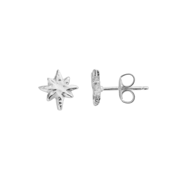 Silver Baby North Star Stud Earrings detailed