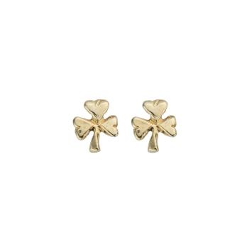 Gold Baby Shamrock Stud Earrings