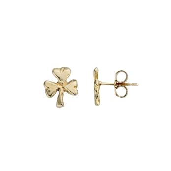 Gold Baby Shamrock Stud Earrings detailed