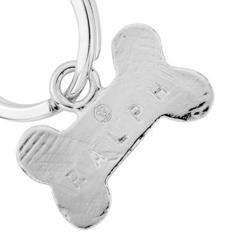 Silver Bone Dog Tag detailed