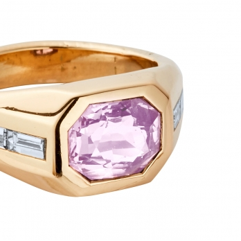 CIELO ROSA Gold Pink Sapphire & Diamond Ring detailed