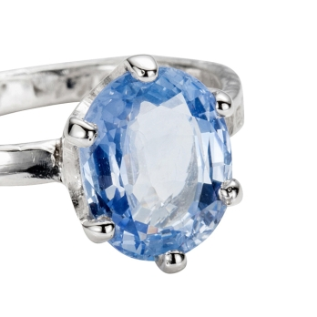 White Gold Oval Blue Sapphire Ring detailed