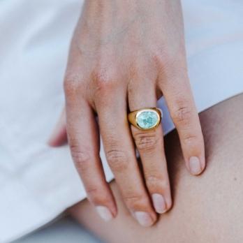 AURORA Gold Paraiba Tourmaline Ring detailed