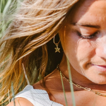 Maxi Cupid Hoops with Gold Mini Star Charms detailed