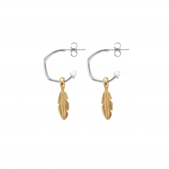 Mini Cupid Hoops With Gold Mini Feather Charms detailed