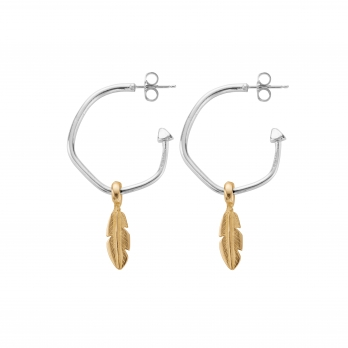 Maxi Cupid Hoops with Gold Mini Feather Charms detailed