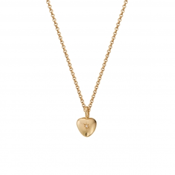 Gold Diamond Grateful Heart Necklace