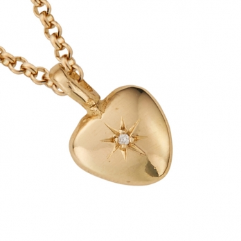 Gold Diamond Grateful Heart Necklace detailed