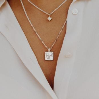 Silver Medium Leo Horoscope Necklace detailed