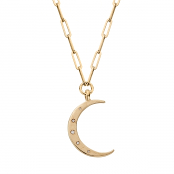 Gold Diamond Large Crescent Moon Trace Chain Necklace