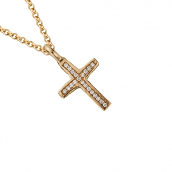 Gold Pavé Set Diamond Medium Cross Necklace detailed
