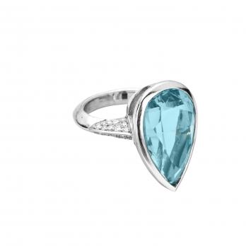 MARILYN White Gold Aquamarine & Diamond Ring