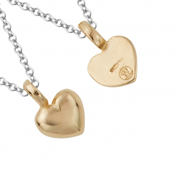 Silver & Gold Think of Me Heart Necklaces detailed