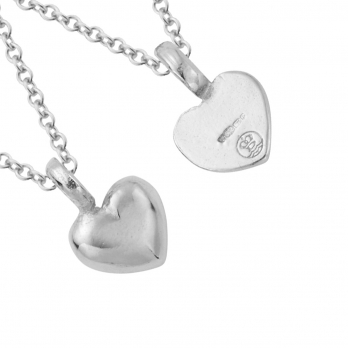 Silver Think of Me Heart Necklaces detailed