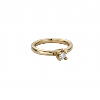 Gold Diamond Claw Engagement Ring