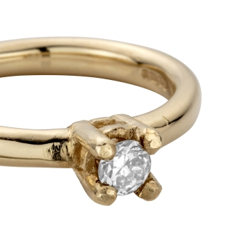 Gold Diamond Claw Engagement Ring detailed