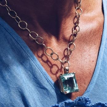 DEIA Gold Aquamarine & Diamond Necklace detailed