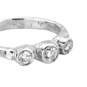 Silver Diamond Trinity Ring detailed