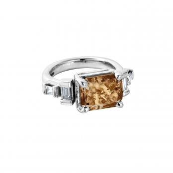 ALECTRONA White Gold Smoky Diamond Ring