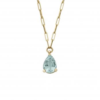 EZILI Gold Aquamarine Teardrop Necklace