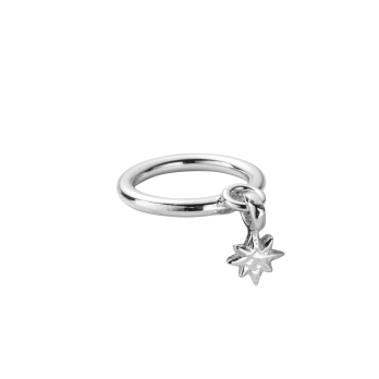 Silver Falling Baby North Star Ring