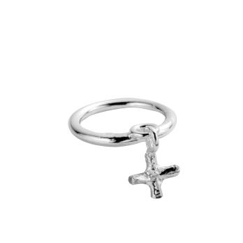 Silver Falling Mini Kiss Ring