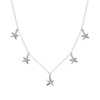 Silver Five Star Necklace
