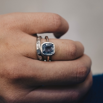 GALIA Silver Blue Sapphire Ring detailed