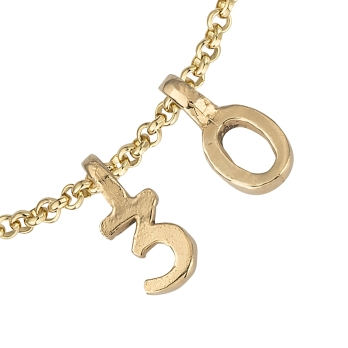 Gold Alphabet Chain Bracelet detailed