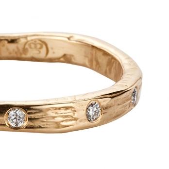 Gold 5 Diamond Mini Posey Ring detailed