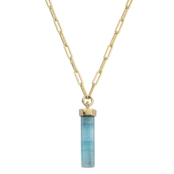GELIDA Gold Large Aquamarine Trace Chain Necklace
