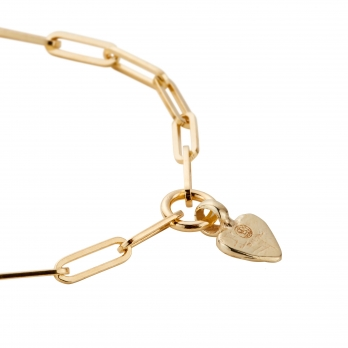 Gold Baby Heart Trace Chain Bracelet  detailed