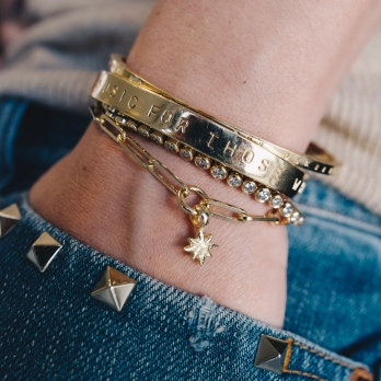 Gold Baby North Star Trace Chain Bracelet  detailed