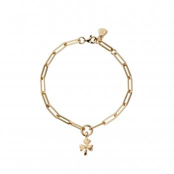 Gold Baby Shamrock Trace Chain Bracelet
