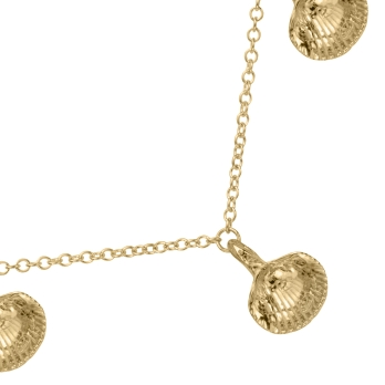 Gold Five Shell Necklace detailed