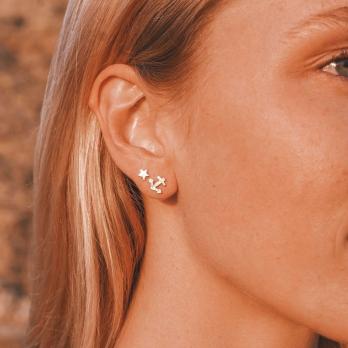 Gold Little Anchor Single Ear Charm detailed