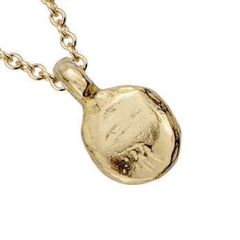 Gold Mini Disc Necklace detailed