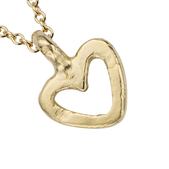 Gold Mini Open Heart Necklace detailed