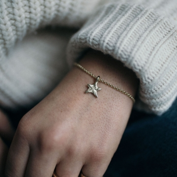 Gold Mini Star Chain Bracelet detailed