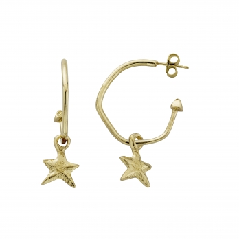 Gold Maxi Cupid Hoops With Mini Star Charms detailed