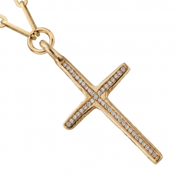 Gold Pavé Set Diamond Large Cross Trace Chain Necklace detailed