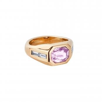 CIELO ROSA Gold Pink Sapphire & Diamond Ring