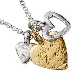 Silver & Gold A Lot Of Love Necklace detailed