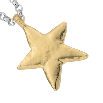 Silver & Gold Maxi Star Necklace detailed