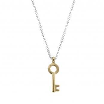 Silver & Gold Medium Dreamer's Key Necklace