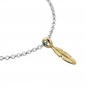 Silver & Gold Mini Feather Chain Bracelet detailed