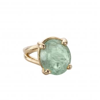 KAIHOLO Gold Oval Aquamarine Claw Ring