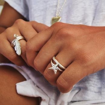 Silver Love Struck Mini Star Ring detailed